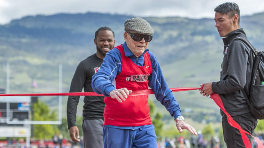 Dan Bulkley runs 100 meters at age 100