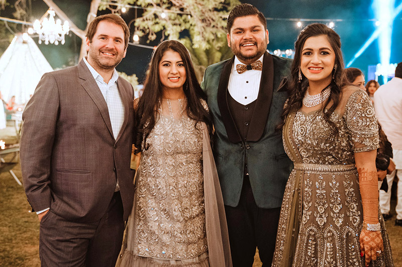 Sachta and Sohana Bakshi with Husbands at Sohana's Wedding in India