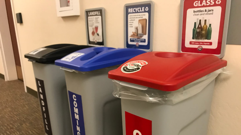 Centralized trash cans and recycling bins will be the focus at SOU